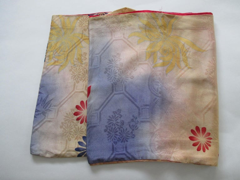 Hand-Crafted Vintage Silk Floral Kimono Sleeves Double-Sided Textile For Sale