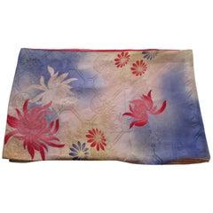 Vintage Silk Floral Kimono Sleeves Double-Sided Textile