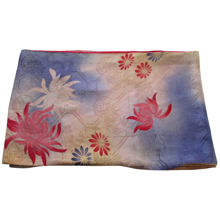 Vintage Silk Floral Kimono Sleeves Double-Sided Textile For Sale