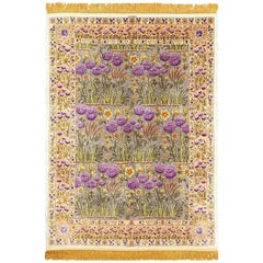 Vintage Silk Floral Tabriz Persian Rug