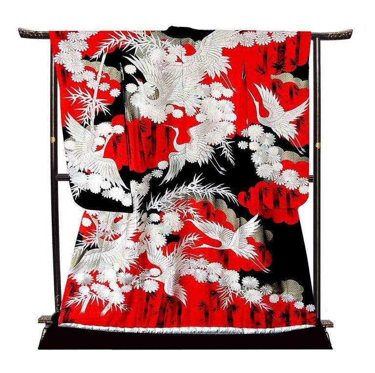 Vintage Silk Silver Brocade Japanese Ceremonial Kimono, Art Deco Style