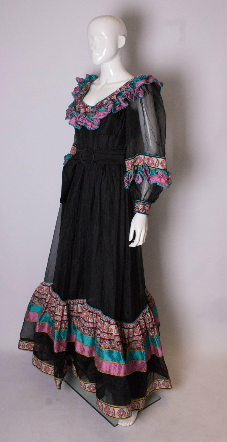 Black Vintage Silk Gown by Regamus London For Sale