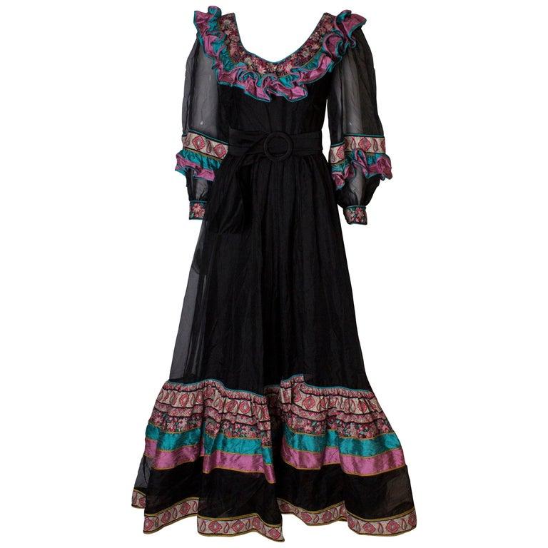Vintage Silk Gown by Regamus London For Sale