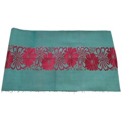 Vintage Silk Green Obi Textile with Band of Red Flowers