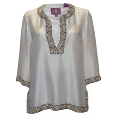 Vintage Silk Kaftan Top with Shell and Bead Detail