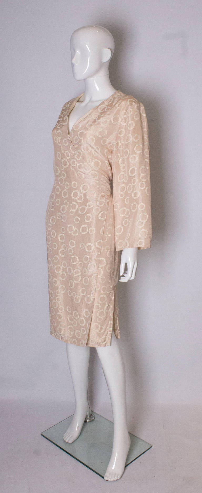 Beige Vintage Silk Kimono Style Dress For Sale