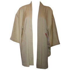 Vintage Silk Kimono with Butterfly and Floral Design