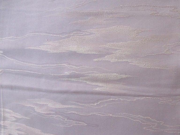 Japonisme Vintage Silk Obi Textile with Tone-on-Tone Lilac Clouds For Sale