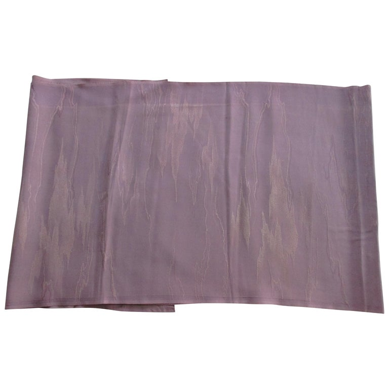 Vintage Silk Obi Textile with Tone-on-Tone Lilac Clouds For Sale