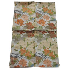 Vintage Silk Orange and Yellow Obi Textile Panel