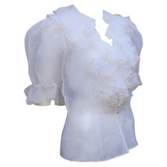 Vintage Silk Organza Sheer Ruffled Blouse