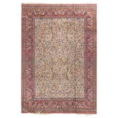 Vintage Silk Persian Kashan Rug Carpet 6'9 x 9'10