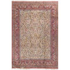 Vintage Silk Persian Kashan Rug Carpet