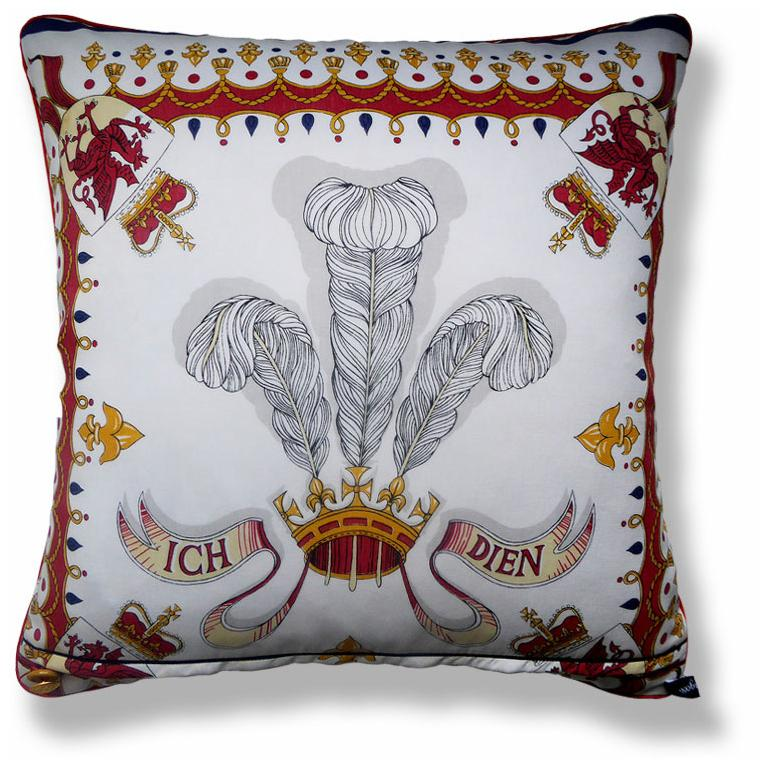 British made luxury cushion created using original vintage silks. Featured on the front side are iconic London images with points of interest in and around the City of London during olden times; complimented on the reverse with the Prince of Wales