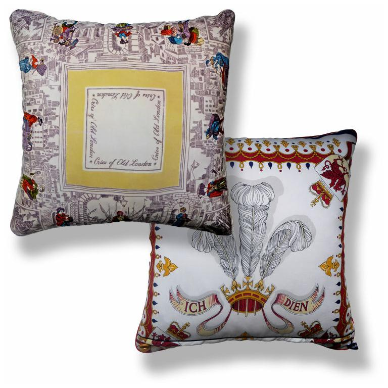 Organic Modern Vintage Silk Pillow 'Cries of London' with Iconic Images of the City of London For Sale