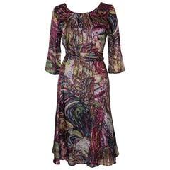 Vintage Silk Print Day Dress