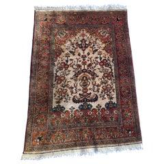 Vintage Silk Samarkand Rug, Signed circa 1920