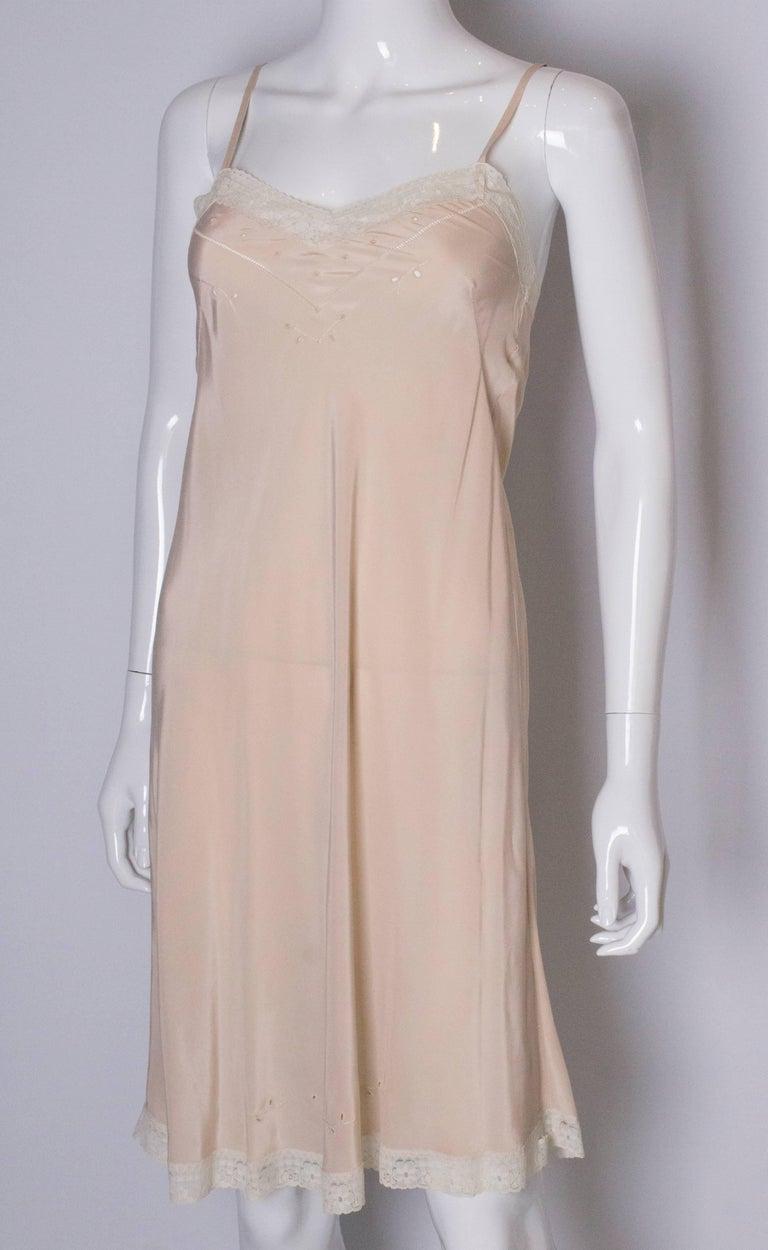 Beige Vintage Silk Slip For Sale