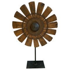 Vintage Silk Spinning Wheel Teak and Iron Floral Sculpture