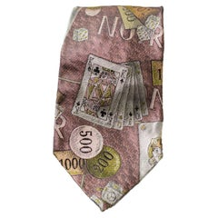 Vintage silk tie with playing cards by Moschino