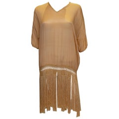 Vintage Silk Top with Fringe Detail