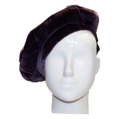 Vintage Silk Velvet Liz Claiborne Beret