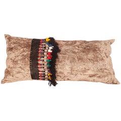 Silk Velvet Pillow Case Decorated with Vintage Uzbek Tassles, Mid-20th Century