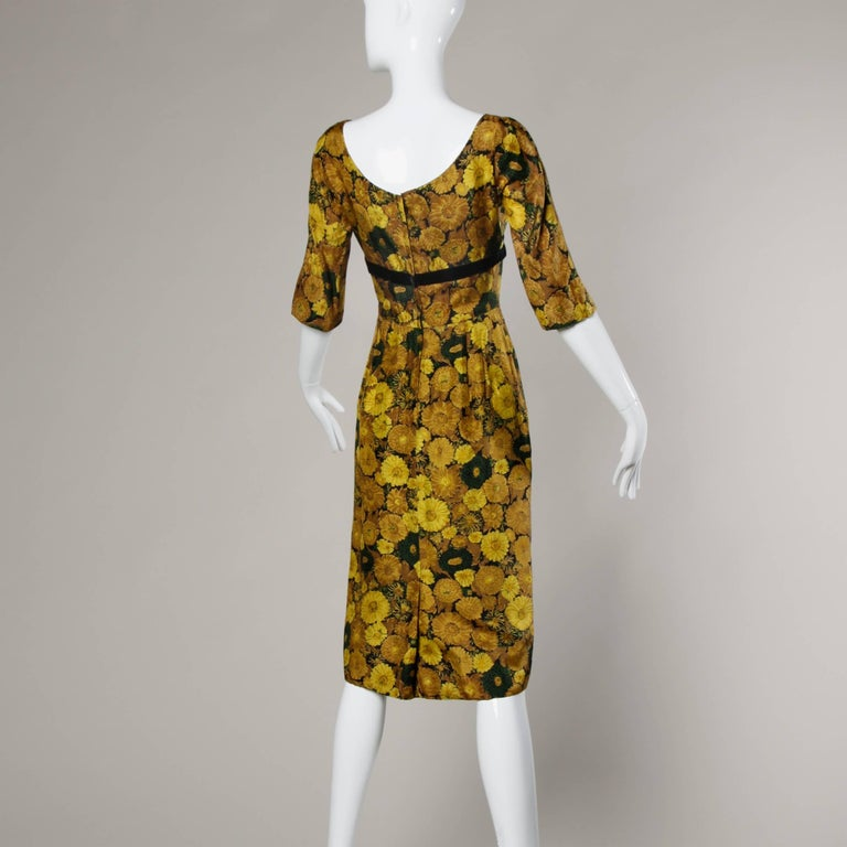 Vintage Silk Yellow Floral Print Cocktail Dress, 1950s-1960s In Excellent Condition For Sale In Sparks, NV