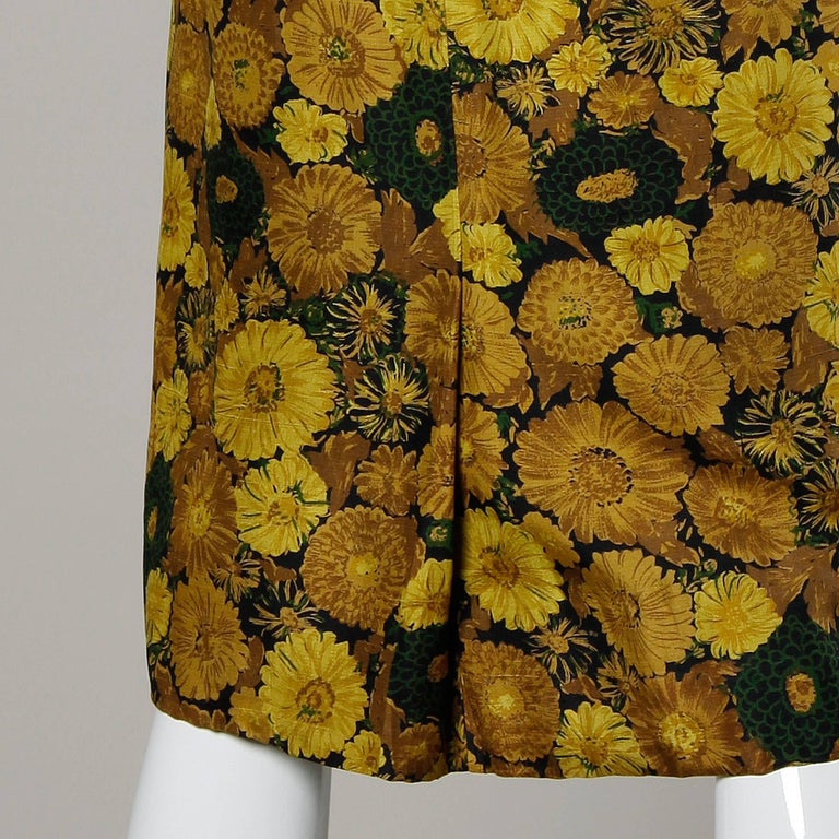 Vintage Silk Yellow Floral Print Cocktail Dress, 1950s-1960s For Sale 1