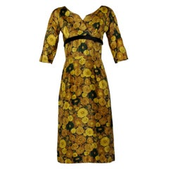 Vintage Silk Yellow Floral Print Cocktail Dress, 1950s-1960s