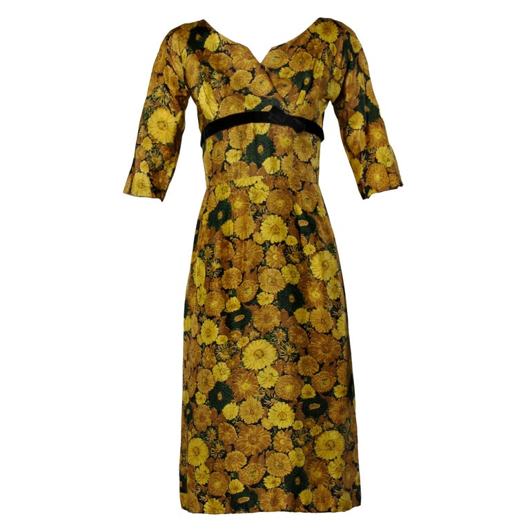 Vintage Silk Yellow Floral Print Cocktail Dress, 1950s-1960s For Sale