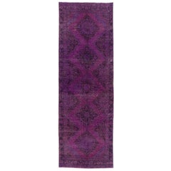 Vintage Sille Runner Overdyed in Purple Color