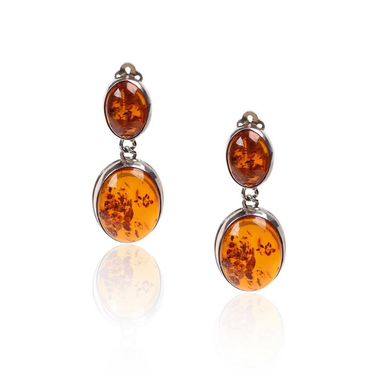 Vintage Silver Amber Earrings For Sale
