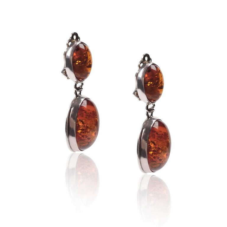 Square Cut Vintage Silver Amber Earrings For Sale