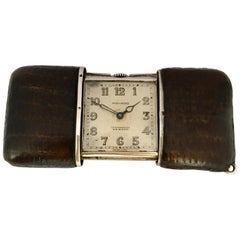 Vintage Silver and Brown Leather Movado Ermeto Chronométre Travel or Purse Watch