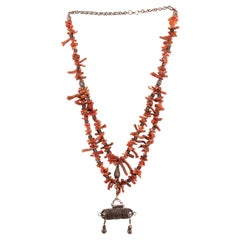 Vintage Silver and Coral Necklace, Yemen, Early 20th Century