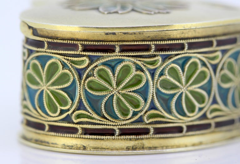 Vintage Silver and Enamel Pill Box, Made in Portugal, 1950s For Sale 5