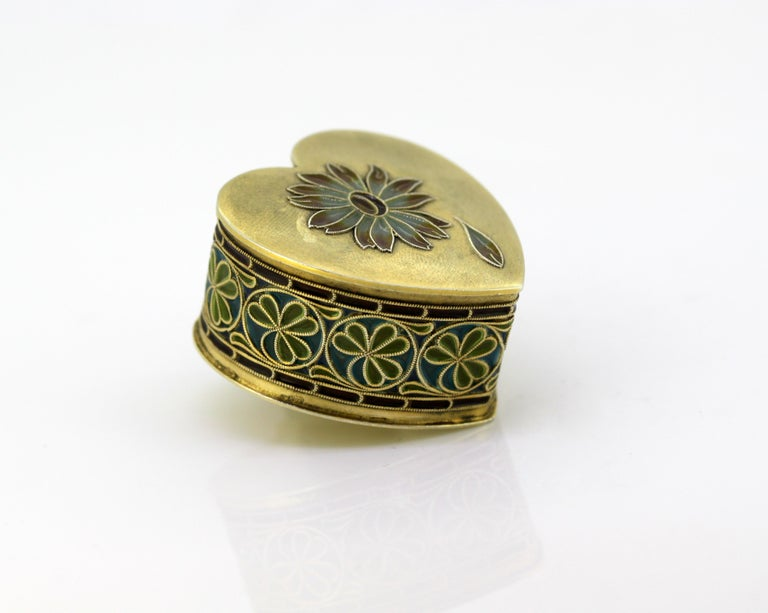 Vintage silver and enamel pill box