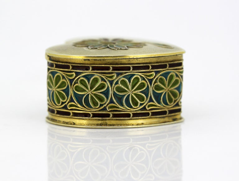 Portuguese Vintage Silver and Enamel Pill Box, Made in Portugal, 1950s For Sale