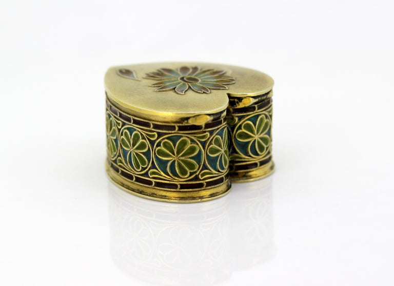 Vintage Silver and Enamel Pill Box, Made in Portugal, 1950s In Good Condition For Sale In Braintree, GB