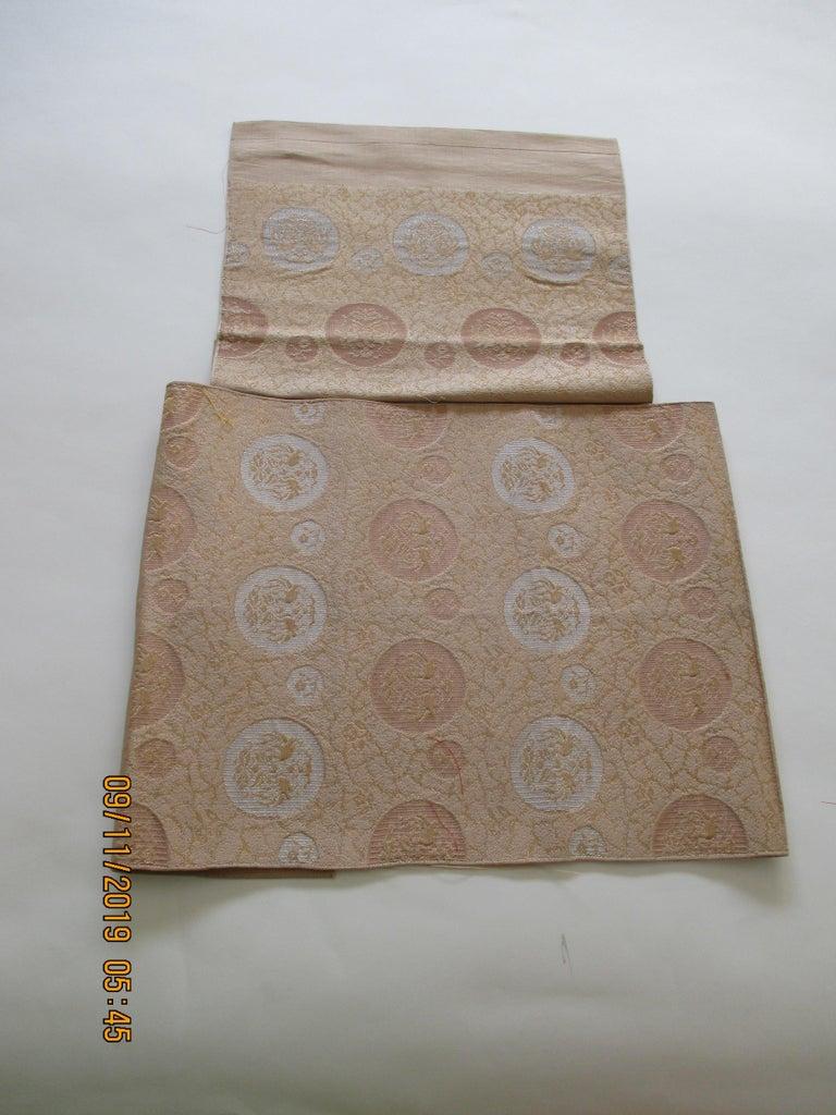 Japonisme Vintage Silver and Gold Obi Textile For Sale