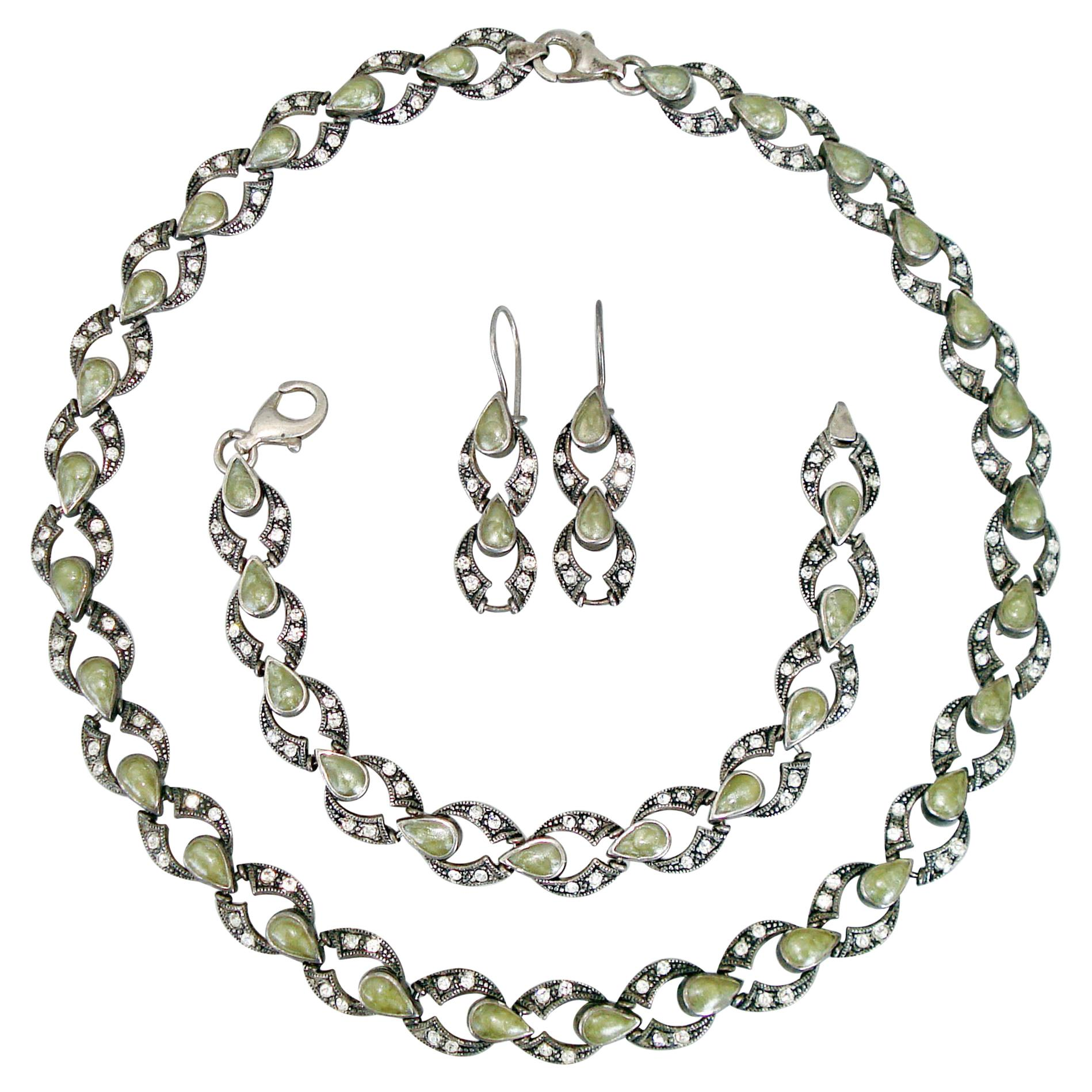 Vintage Silver and Marcasite Jewelry Set Necklace, Bracelet and Earrings, 1980s