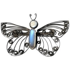 Vintage Silver and Moonstone Butterfly Brooch