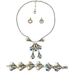 Vintage Silver & Aurora Borealis Crystal Filigree Necklace Suite 1950s