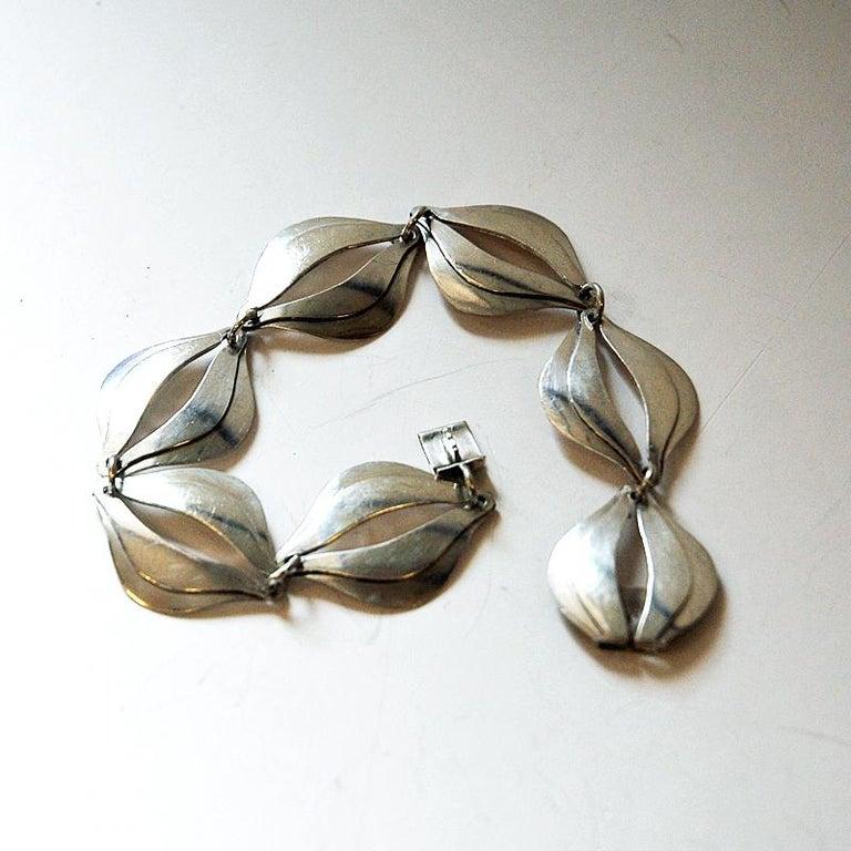 Scandinavian Modern Vintage Silver Bracelet by Erik Svane for Stilsmycken, Sweden, 1960 For Sale