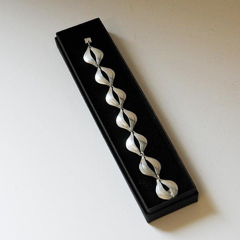 Vintage Silver Bracelet by Erik Svane for Stilsmycken, Sweden, 1960 In Good Condition For Sale In Stockholm, SE