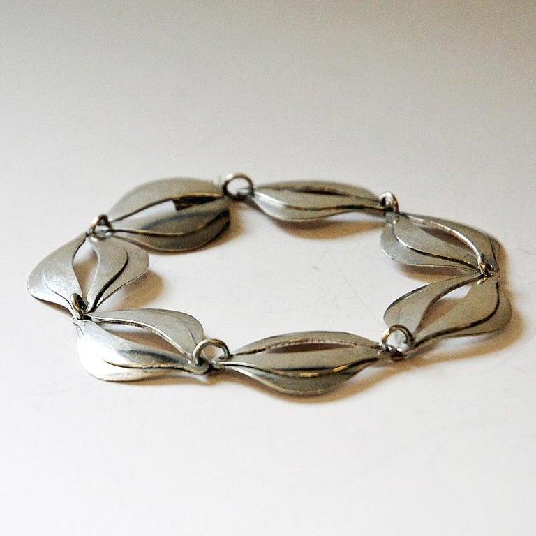 Vintage Silver Bracelet by Erik Svane for Stilsmycken, Sweden, 1960 For Sale 2