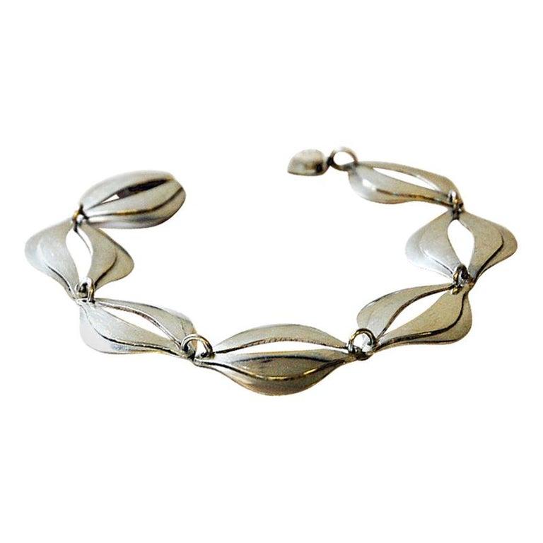 Vintage Silver Bracelet by Erik Svane for Stilsmycken, Sweden, 1960 For Sale
