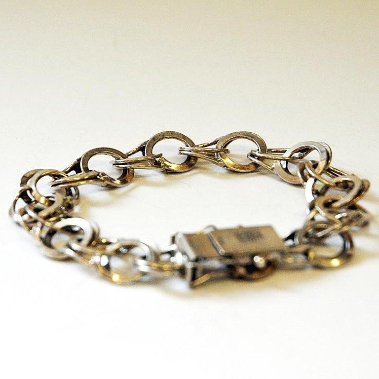 Scandinavian Modern Vintage Silver Bracelet with Rings by Curt Hallberg, Sweden, 1974 For Sale