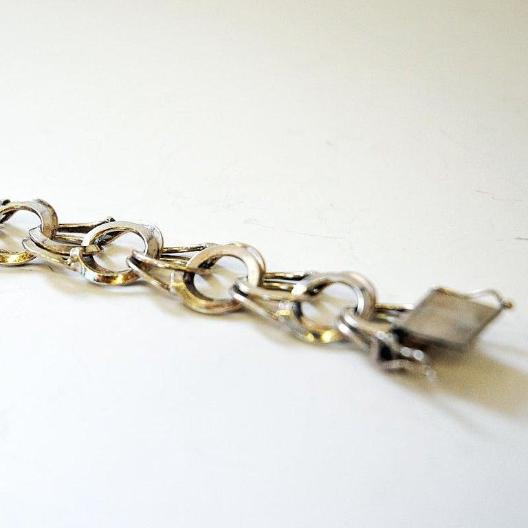Swedish Vintage Silver Bracelet with Rings by Curt Hallberg, Sweden, 1974 For Sale